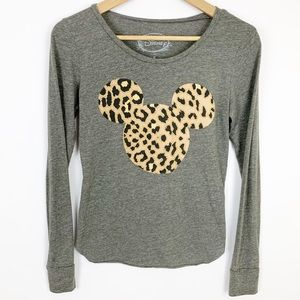 Disney Gray Long Sleeve Animal Print Mouse Ears